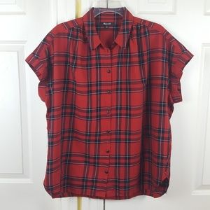 Madewell Button Up Red Plaid Top Oversize Large